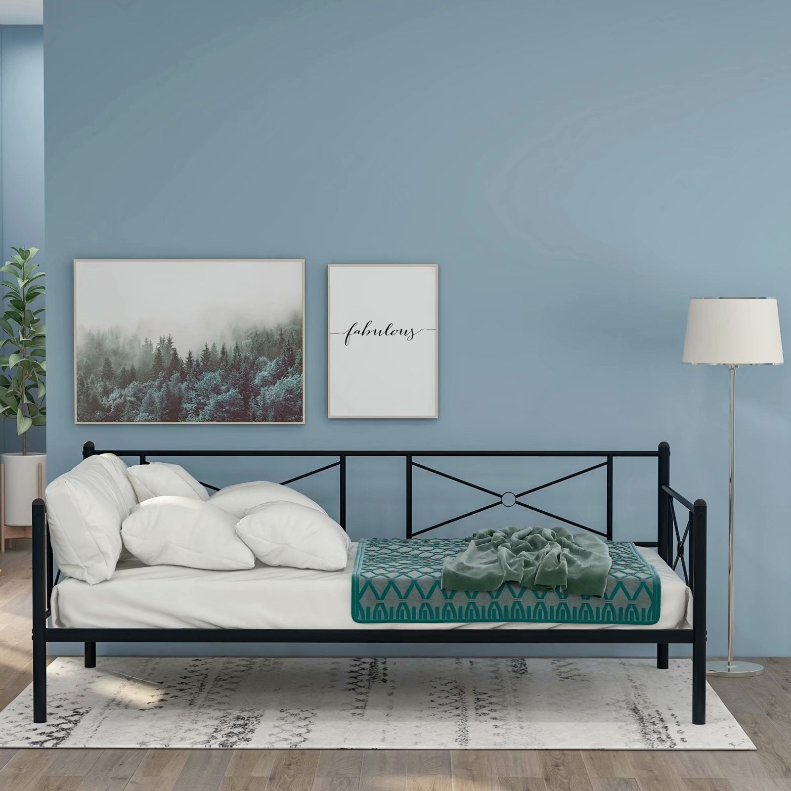 VECELO Black Metal Daybed Cross Wrought Iron Daybed