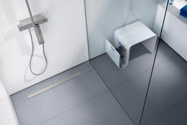 Gray linear shower drain