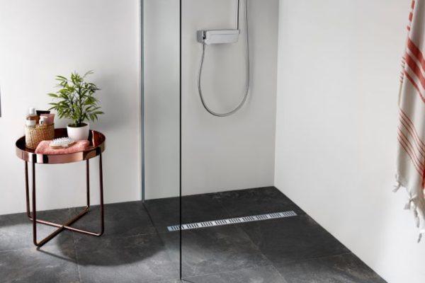 Charcoal floor linear shower drain
