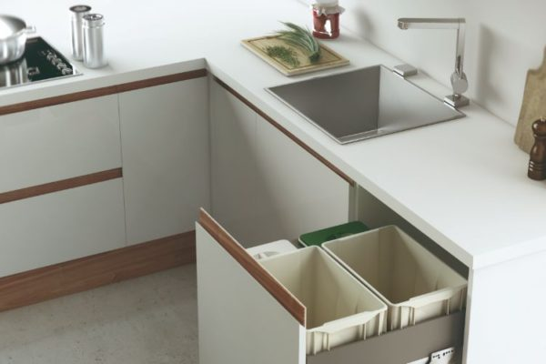 Modern kitchen with top drawer open