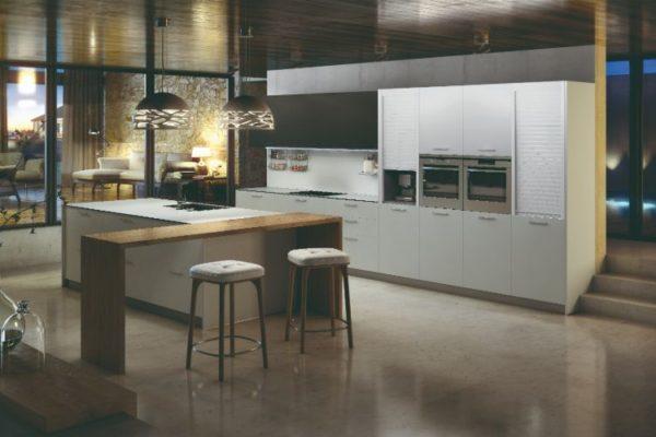 Elegant kitchen with white cabinets