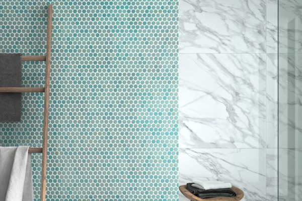 Turquoise mosaic wall
