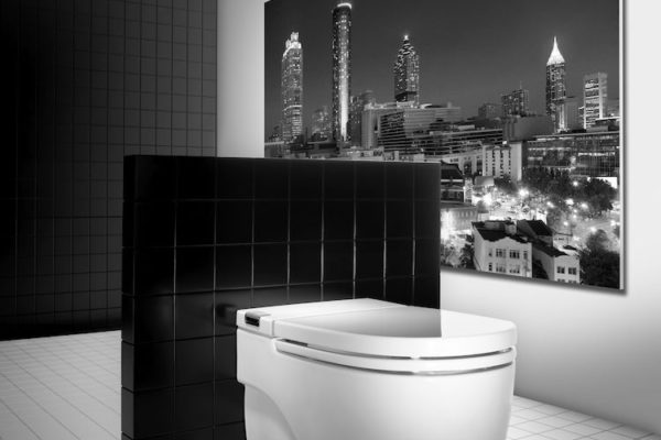 WC suites with black wall