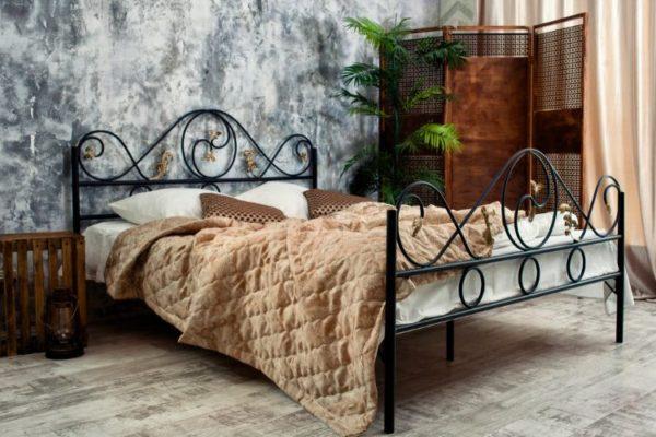 Black metallic bed