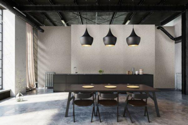 Betonart plastered living room with concrete effect