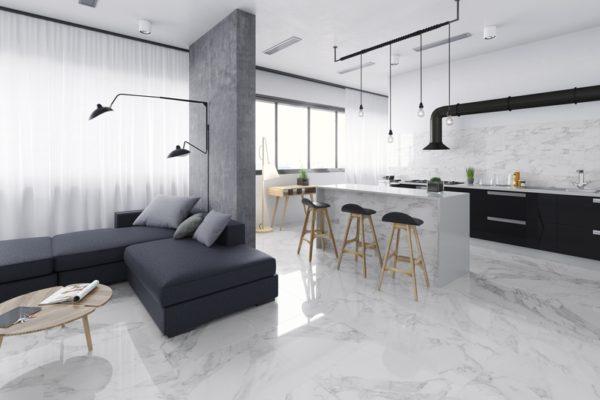Carrara white marble flooring