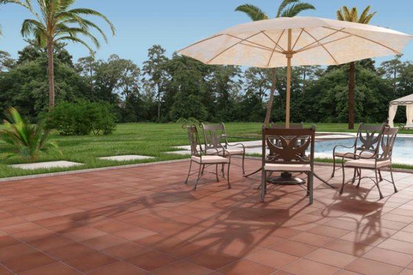 Outdoor terracotta tiles