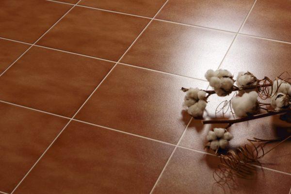 Dark brown terracotta tiles