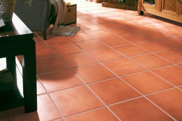 Maroon terracotta tiles