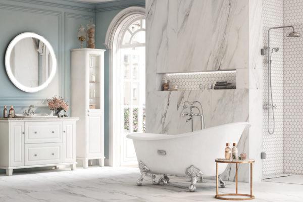 Carmen white planners shower column