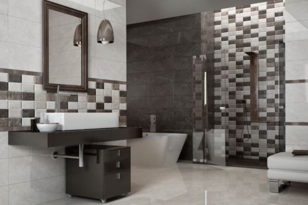 Shiny 45 by 45 floor tiles