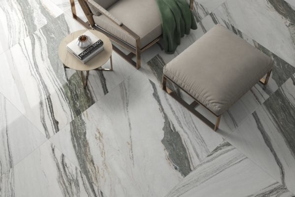 Eter green polished marble flooring