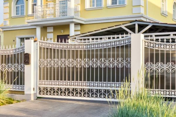 White decorated grill gate
