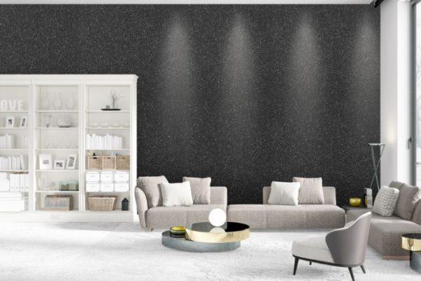 Glitter charcoal black walls and glass plaster grey floors