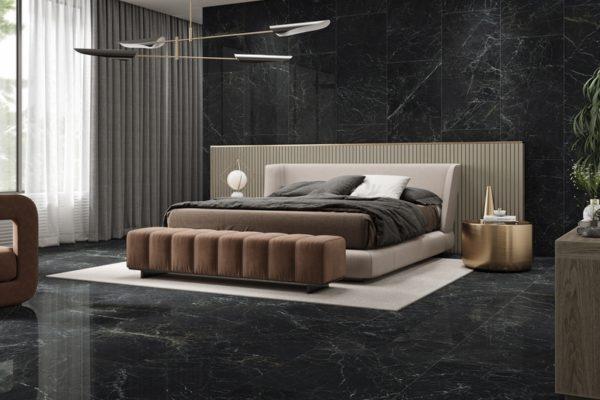 Kronos dark polished marble tiles