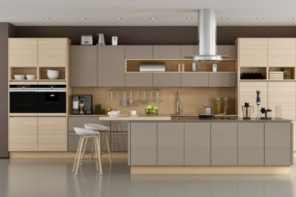 Brown and gray kitchen design