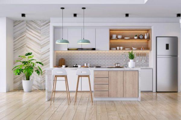 Neat kitchen with laminate floors