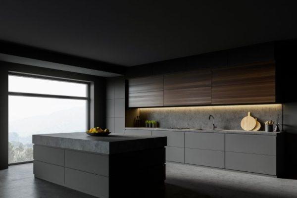 Black design kitchen