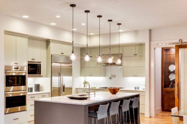 Elegant kitchen with low hanging lights