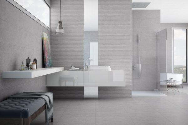 Light stone bathroom flooring