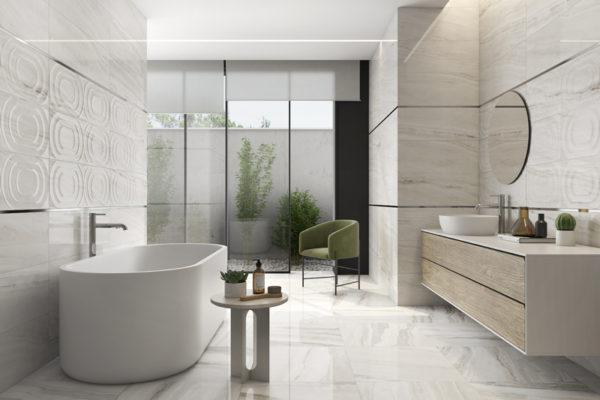 Lira white marble flooring