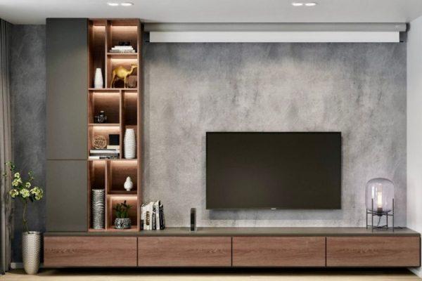 Tv mounted on grey wall
