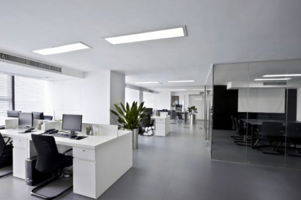 White office cabinets and balck seats