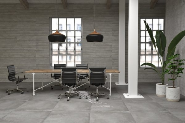Powder argent concrete finish tiles