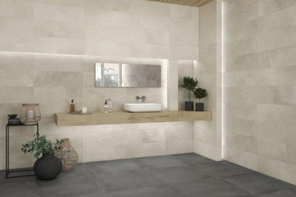 Powder plumb concrete finish tiles