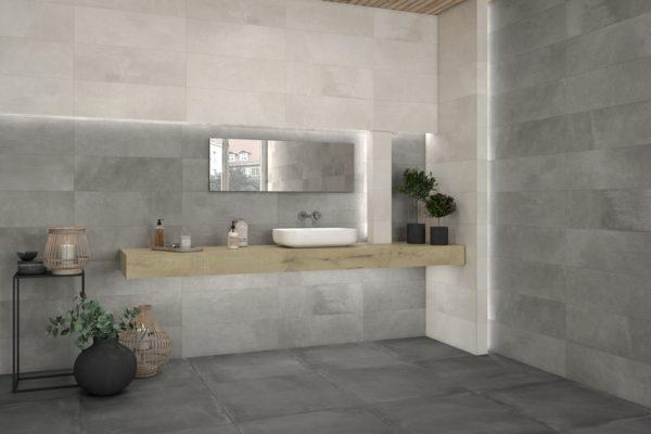 Powder concrete tiles