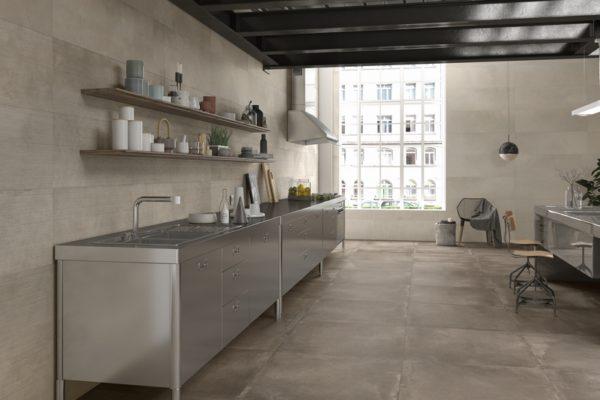 Powder ambre concrete finish tiles