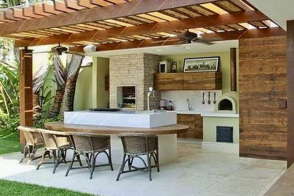 Wooden pergola with glass roof