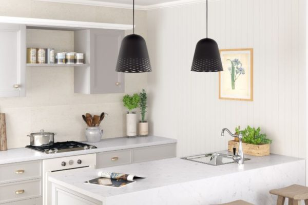 Silestone pearl granite kitchen with low hanging lights