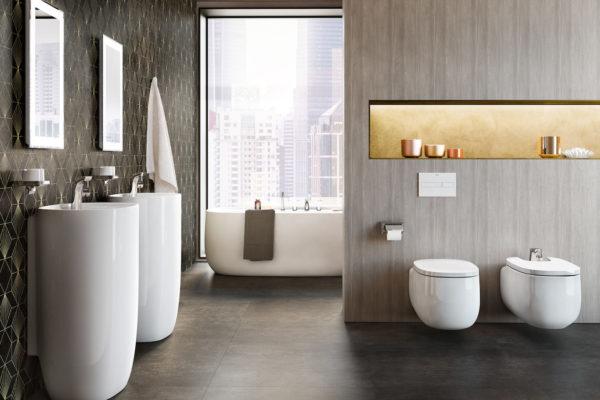 Roca white ceramic washbasins