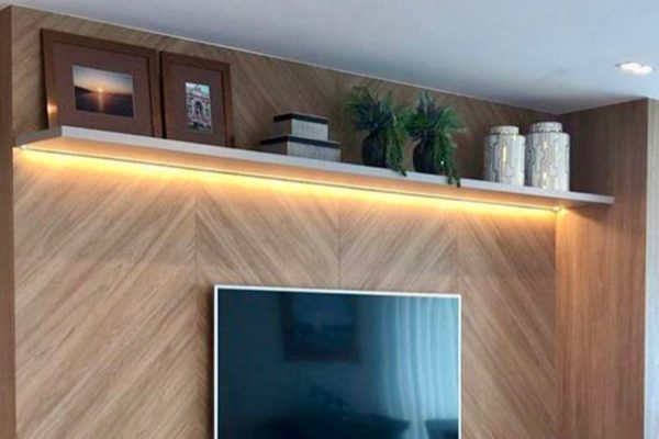 Brown wall TV cabinet