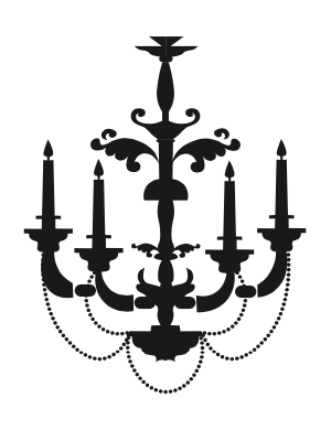 Black and white image wrought iron lights