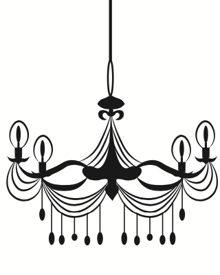 Black 4 candle wrought iron light with hanging pendants