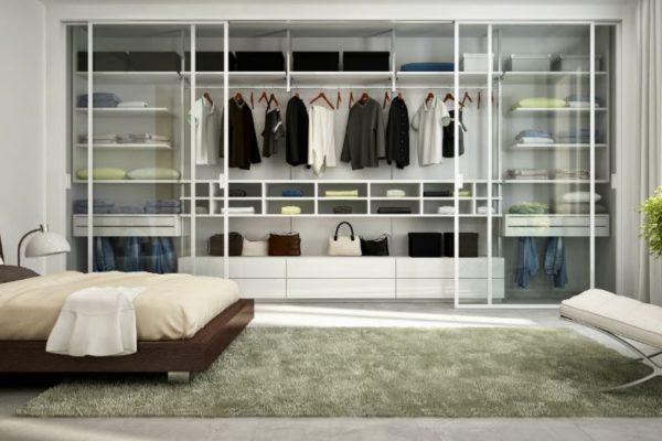 Transparent glass sliding wardrobes