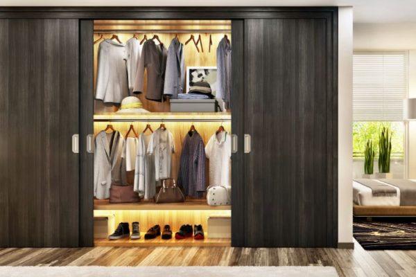 Gray sliding wardrobes