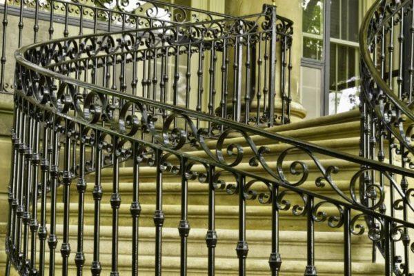 Classic modern metal railings staircase