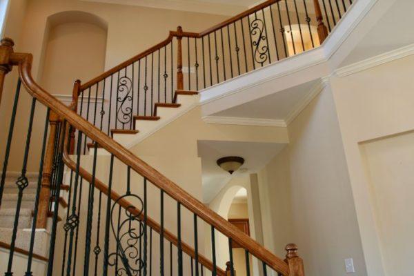 Wooden handle spiral vertical railings