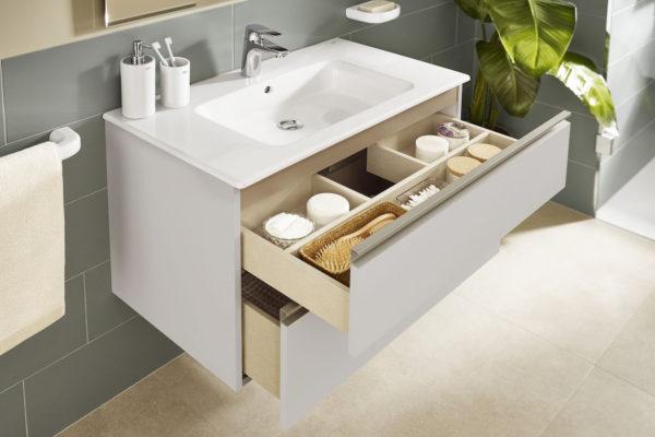 Modern bathroom washbasin with 2 drawers