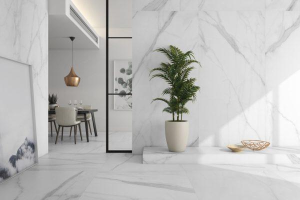 Tholos white natural marble flooring