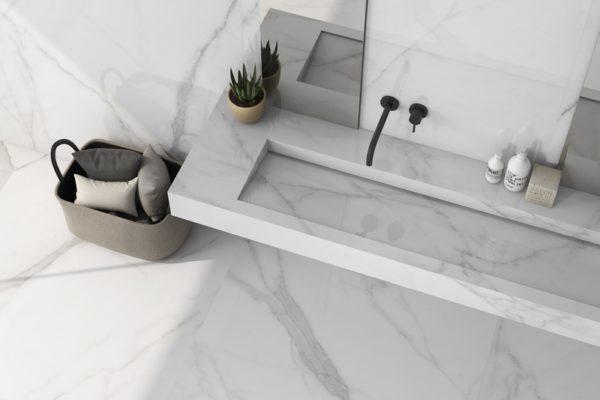 Tholos white polished marble flooring