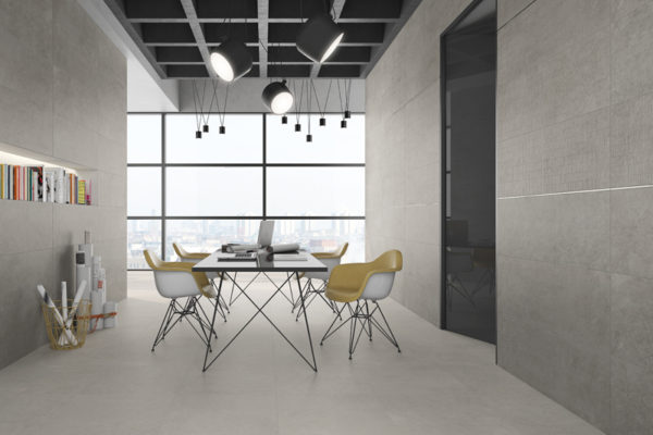 Wave tortora concrete finish tiles