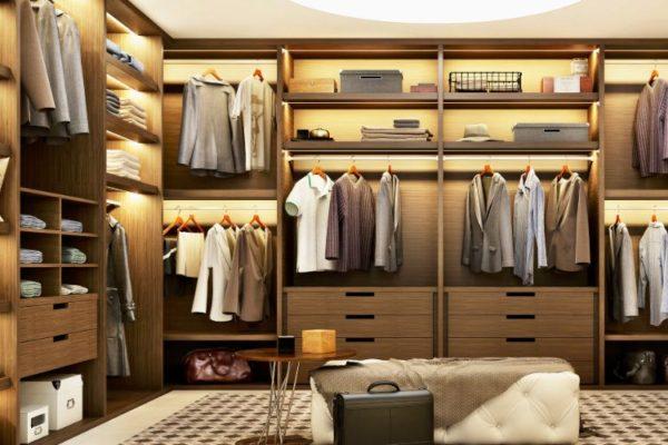 Multi shaped cabinets walk in closet