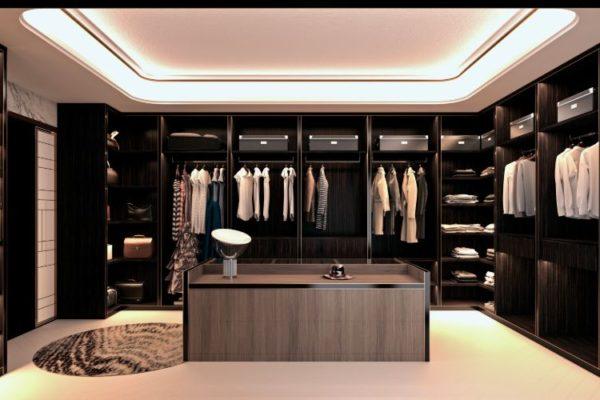 Dark square shaped closet