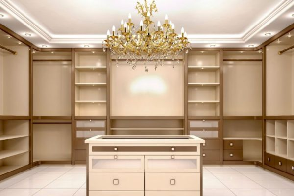 Empty shelves golden walk in closet