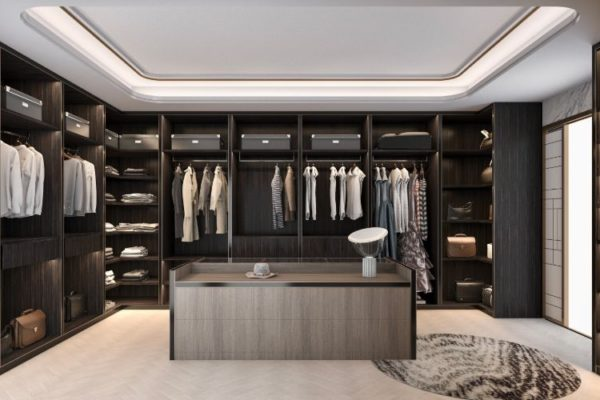 Beautiful black cabinets walk in closet