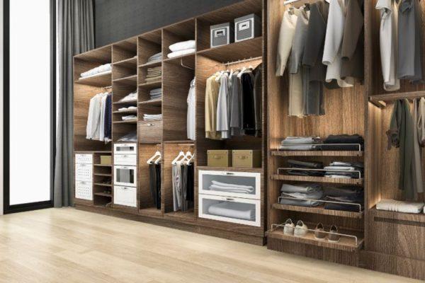 Well-organized walk-in closet